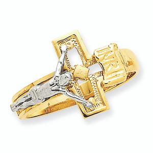 Two-Tone Crucifix Men's Ring
