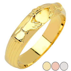 Claddagh Mens Wedding Band in Gold (Yellow/Rose/White)
