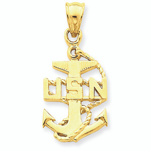 Gold US Navy Anchor Symbol Pendant Necklace