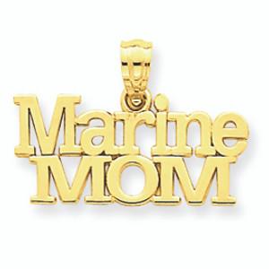 Gold US Marine Mom Pendant