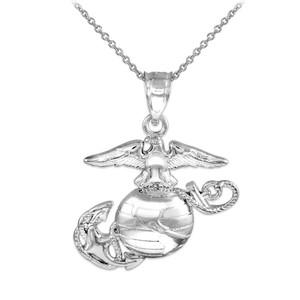 White Gold US Marine Corps Medium Pendant Necklace