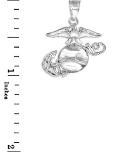 Sterling Silver US Marine Corps Medium Pendant Necklace