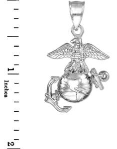 White Gold US Marine Corp Large Pendant