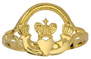 Gold Claddagh Ring Ladies with Cross