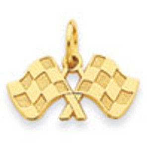 14K Gold Racing Flags Charm