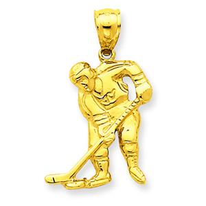 14K Gold Hockey Player Pendant