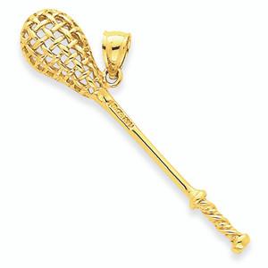 Yellow Gold Lacrosse Stick Charm