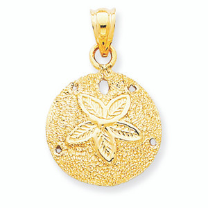 14K  Solid Gold Polished Laser-Cut Sand Dollar Pendant