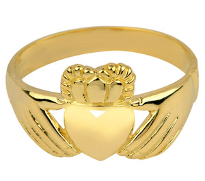 Gold Irish Claddagh Ring Ladies.  Available in 14k and 10k.