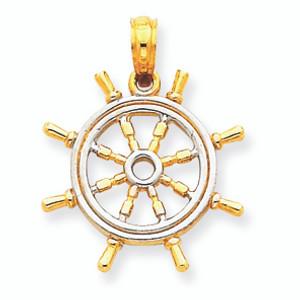 14K Gold Rhodium Ship`s Wheel Pendant