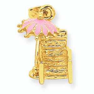 14K Gold Pink Emameled Beach Chair Pendant