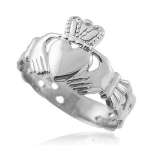 Men's Gold Claddagh Trinity Band Ring (Yellow/Rose/ White)