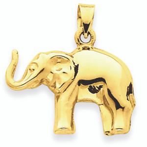 14K Gold Elephant Pendant