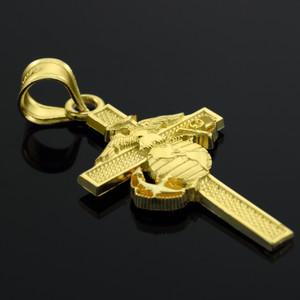 Yellow Gold US Marine Corp Cross Medium Pendant Necklace