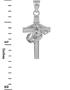 White Gold US Marine Corps Cross Medium Pendant Necklace