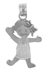 White Gold Baby Charm Pendant - Pinafore Girl