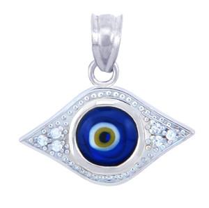 Silver Diamond CZ Blue Pendant