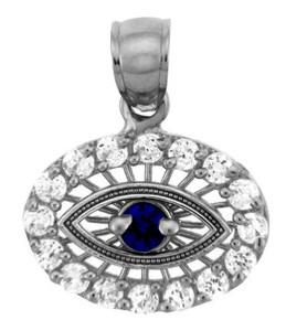 Silver Pendant - Sapphire Evil Eye With Cubic Zirconia