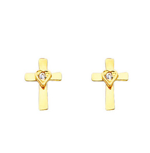 14K Gold Cross Heart CZ Stud Earrings