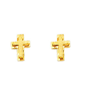 14K Gold Cross Layered Stud Earrings