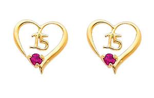 14K Gold Quinceanera Ruby Enhanced Heart Stud Earrings