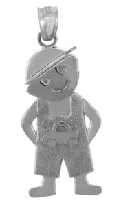 Silver Baby Charms and Pendants - Car Boy Charm
