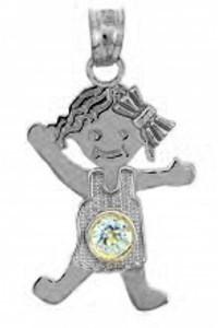 White Gold Baby Charm Pendant - CZ Crystal Girl  Birthstone Charm