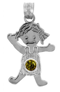 White Gold Baby Charms and Pendants - CZ Light Green Gem Girl  Birthstone Charm