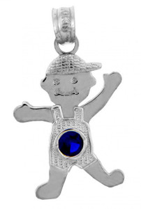 White Gold Baby Charms and Pendants - Boy  Birthstone Charm with CZ Sapphire Blue Stone