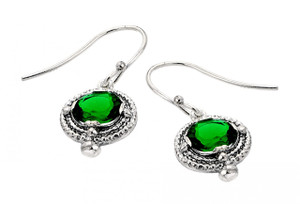 Oxidized Sterling Silver Elegant Emerald Earrings