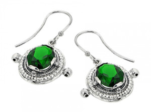 Oxidized Sterling Silver Emerald Earrings