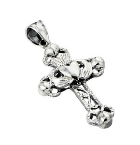 Oxidized Sterling Silver Claddagh Cross Pendant
