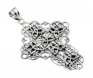 Oxidized Sterling Silver Trinity Cross Pendant