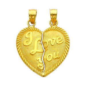 Gold Hearts Apart - I Love You Pendant - Large
