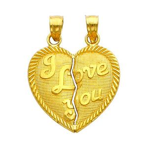 Gold Hearts Apart - I Love You Pendant - Small