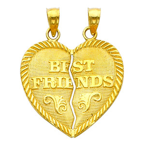 Gold Hearts Apart - Best Friends Pendant - Large