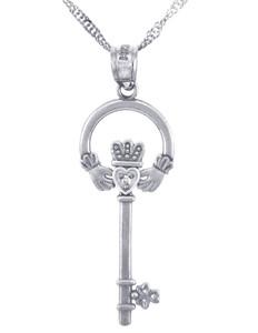 Silver Claddagh Key Pendant with CZ (w Chain)
