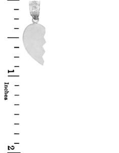 Silver Half Heart Pendant Left