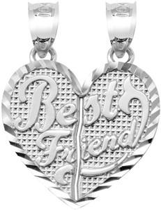 """Silver Gold  """"BEST FRIENDS""""   Breakable Heart Pendant-Large"""