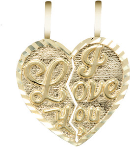 """Yellow Gold """"I LOVE YOU""""  Breakable Heart Pendant-Small"""
