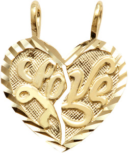 """Yellow Gold """"LOVE"""" Breakable Heart Pendant - Small"""