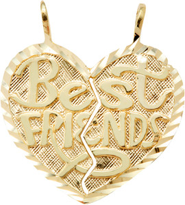 "Yellow Gold  ""Best Friends"" Breakable Heart Double Pendant-Medium"