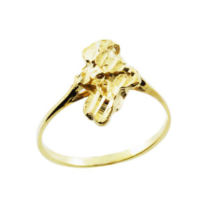 Yellow Gold Chiseled Nugget Ladies Ring
