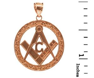 "Rose Gold Freemason Round Masonic Bail Pendant 1.2"""