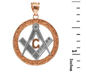 "Two-Tone Rose Gold Freemason Round Masonic Bail Pendant 1.2"""