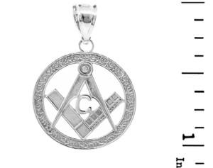"White Gold Freemason Small Round Masonic Bail Pendant 1"""
