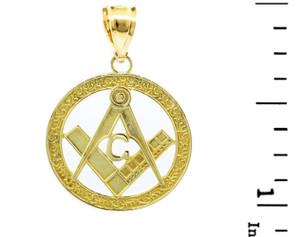"""Yellow Gold Freemason Small Round Masonic Bail Pendant 1"""""""