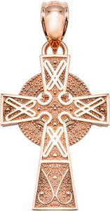 Rose Gold Celtic Cross Pendant -Small