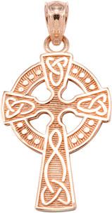 Rose Gold Celtic Cross Pendant