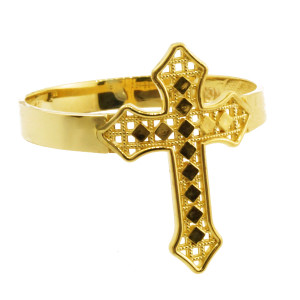 Yellow Gold Aciculate Cross Ring
